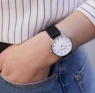 Vegan Leather Round Watch   Petite   Silver & Black from Votch in Watches, Accessories