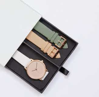 Lyka Gift Set | Vegan Leather Round Watch | Rose Gold & Cloudy Grey with Taupe from Votch in Watches, Accessories
