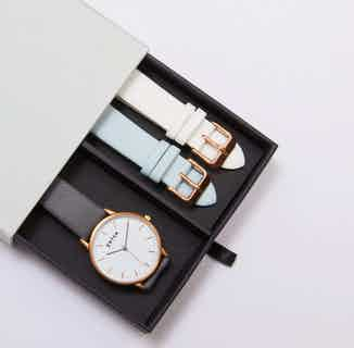Moment Gift Set | Vegan Leather Round Watch & 2 Straps | Rose Gold & Slate Grey from Votch in Watches, Accessories