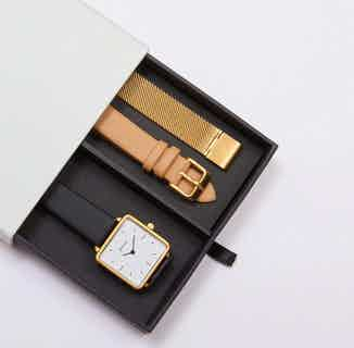 Kindred Gift Set | Vegan Leather Square Watch with 2 Straps | Gold & Black from Votch in Watches, Accessories