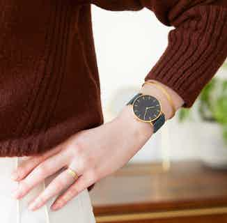 Classic | Vegan Leather Round Watch | Gold & Juniper with Black from Votch in Watches, Accessories