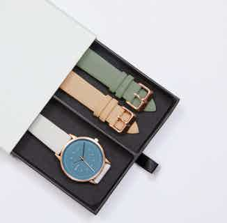 Lyka Gift Set | Vegan Leather Round Watch | Rose Gold & Light Grey with Blue from Votch in Watches, Accessories