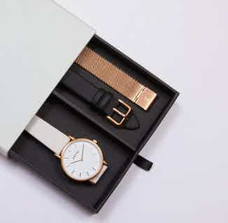 Classic Petite Gift Set | Vegan Leather Watch & 2 Straps | Rose Gold & Light Grey from Votch in Watches, Accessories