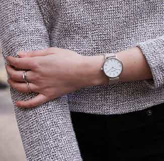 Classic | Vegan Leather Watch with Silver Bangle | Petite | Silver & Light Grey from Votch in Watches, Accessories