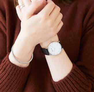 Classic | Vegan Leather Watch with Silver Bangle | Silver & Black from Votch in Watches, Accessories