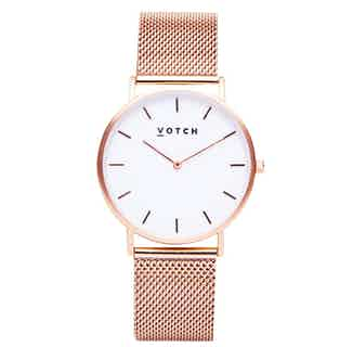 Mesh Classic | Vegan Leather Round Watch | Rose Gold & Rose Gold from Votch in Watches, Accessories