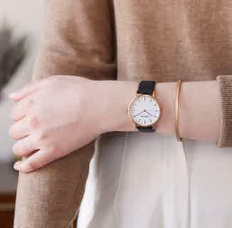 Vegan Pineapple Fibres Round Watch | Petite | Rose Gold & Piñatex from Votch in Watches, Accessories
