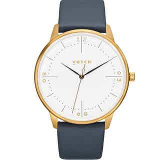 Aalto | Vegan Leather Round Watch | Gold & Navy from Votch in Watches, Accessories