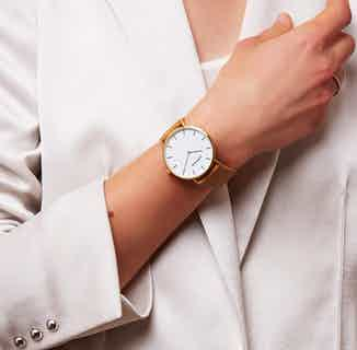 Classic Set | Recycled Gold Bangle with Gold & Tan Vegan Leather Round Watch from Votch in Watches, Accessories