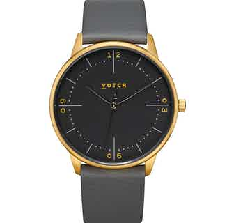 Aalto | Vegan Leather Round Watch | Gold & Slate Grey with Black from Votch in Watches, Accessories