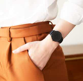 Moment | Vegan Leather Round Watch Face | Black & Black from Votch in Watches, Accessories