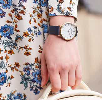 Moment | Vegan Leather Round Watch Face | Gold & Navy from Votch in Watches, Accessories