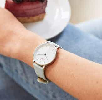 Moment | Vegan Leather Round Watch Face | Silver & Light Blue from Votch in Watches, Accessories