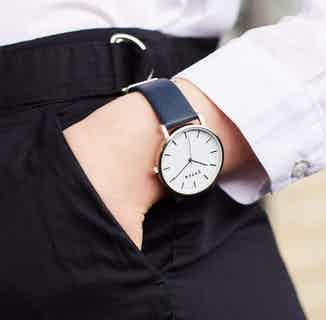 Moment | Vegan Leather Round Watch Face | Silver & Navy from Votch in Watches, Accessories