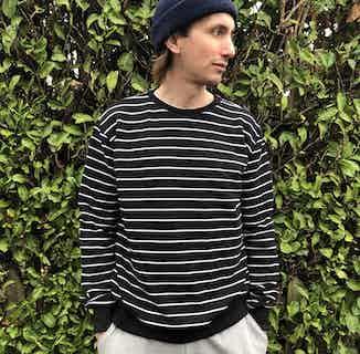Organic Men's Striped Sweatshirt | Black & White from Rozenbroek in Sweaters & Jumpers, Tops