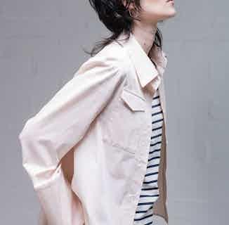 Organic Cotton Cropped Long-Sleeve Women's Shirt   Pink from Rozenbroek in Shirts, Tops