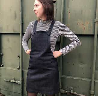 Organic Denim Women's Dungaree Dress   Indigo from Rozenbroek in Dresses, Dresses & Skirts