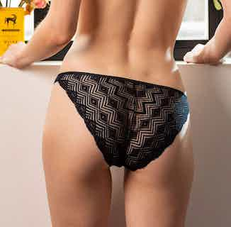 Dawa | Organic Cotton & Recycled Lace Back Panties | Black from Olly in Underwear, Women's Sustainable Clothing
