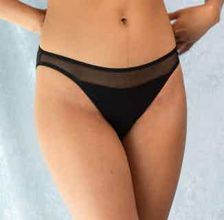 Selune | Organic Cotton & Recycled Tule Low Rise Panties | Black from Olly in Underwear, Women's Sustainable Clothing