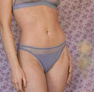Selune | Organic Cotton & Recycled Tule Low Rise Panties | Blue from Olly in Underwear, Women's Sustainable Clothing