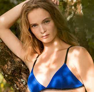 Lena | Organic Cotton Black Piping Bra | Cobalt Blue from Olly in Underwear, Women's Sustainable Clothing