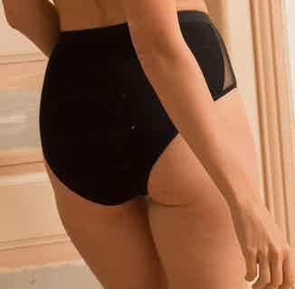 Onyx | Organic Cotton & Recycled Mesh Side High Waist Briefs | Black from Olly in Underwear, Women's Sustainable Clothing