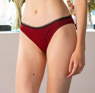 Laïta | Organic Cotton Panties with Recycled Lace Lining | Red Garnet from Olly in Underwear, Women's Sustainable Clothing