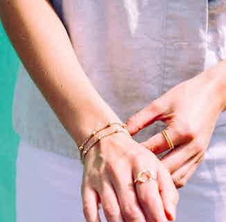 Mustard Collection   Sustainably Sourced Delicate Chain Bracelet   Silver Chain & Gold Beads from Little by Little in Bracelets, Jewellery