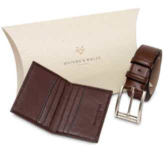Essentials Gift Set - Card Holder & Belt in Brown from Watson & Wolfe in Wallets & Card Holders, Accessories