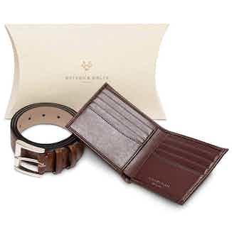 Essentials Gift Set - Bifold Wallet & Belt in Brown from Watson & Wolfe in Belts, Accessories