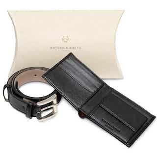 Essentials Gift Set - Coin Wallet & Belt in Black from Watson & Wolfe in Belts, Accessories