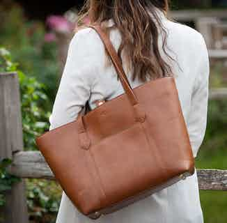 Maddox Tote in Cognac & Emerald from Watson & Wolfe in Bags, Women's Sustainable Clothing