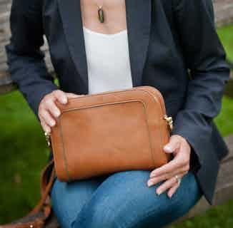 The Wilton Crossbody Bag in Cognac & Emerald from Watson & Wolfe in Crossbody Bags, Bags