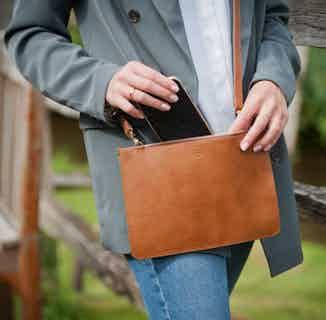 Camden Crossbody Clutch in Cognac & Emerald from Watson & Wolfe in Crossbody Bags, Bags