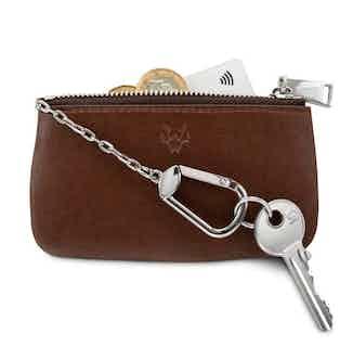 Zipped Card, Coin & Key Case in Oakbark from Watson & Wolfe in Wallets & Card Holders, Accessories