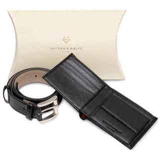 Gift Set - Coin Wallet & Belt in Black from Watson & Wolfe in Belts, Accessories