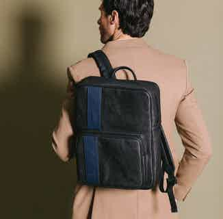 Vegan Leather Men's Backpack | Jared | Black & Blue from GUNAS New York in Bags, Men's Sustainable Fashion