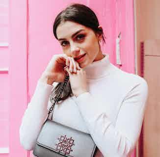 Vegan Leather Women's Crossbody Bag   Maisie   Dark Silver from GUNAS New York in Crossbody Bags, Bags