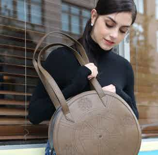 Vegan Leather Women's Round Tote Bag   Meghan   Brown from GUNAS New York in Bags, Women's Sustainable Clothing