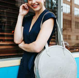 Vegan Leather Women's Round Tote Bag   Meghan   Silver from GUNAS New York in Bags, Women's Sustainable Clothing