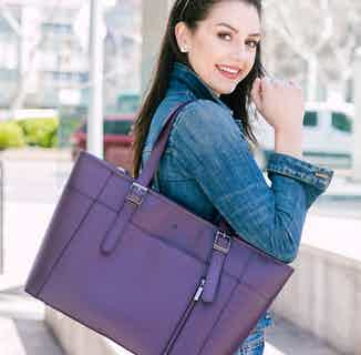 Miley | Vegan Leather Women's Laptop Bag | Purple from GUNAS New York in Totes Shoppers, Bags