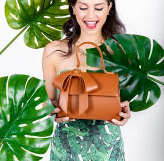 Cottontail | Vegan Leather Women's Bag with a Bow | Tan from GUNAS New York in Crossbody Bags, Bags