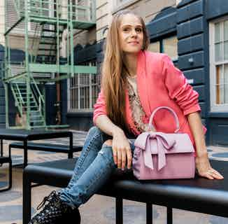 Cottontail | Vegan Leather Women's Bag with a Bow | Raspberry Pink from GUNAS New York in Crossbody Bags, Bags