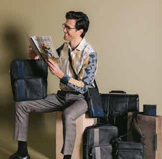 Tom | Vegan Leather Men's Sling Bag | Blue from GUNAS New York in Crossbody Bags, Bags