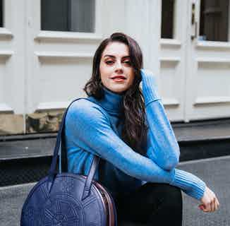 Meghan   Vegan Leather Women's Round Tote Bag   Navy & Rose from GUNAS New York in Totes Shoppers, Bags