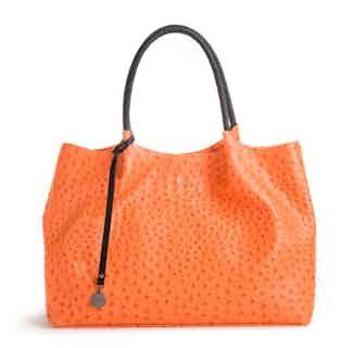 Naomi   Vegan Leather Women's Textured Tote Bag   Orange from GUNAS New York in Totes Shoppers, Bags