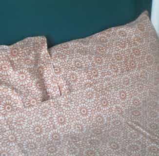 Surat | Fair Trade Organic Duvet Cover Set | Orange & White Pattern from Their story in Bedding, Bedroom