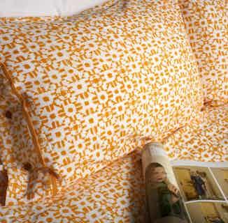 Shimla Tumeric | Fair Trade Organic Duvet Cover Set | Orange & White Print from Their story in Bedding, Bedroom