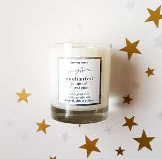 Enchanted | Natural Soy & Rapeseed Essential Oil Candle | Juniper & Pine | 20cl from Yummy Home in Lighting & Candles, Homeware
