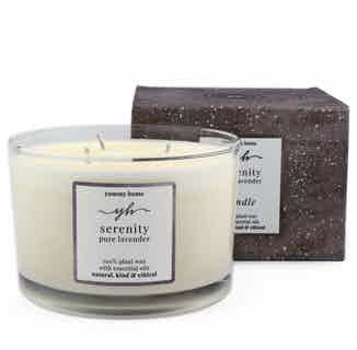 Serenity | Soy & Rapeseed Natural 3 Wick Candle | Pure Lavender | 30cl from Yummy Home in Lighting & Candles, Homeware